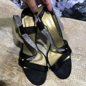 Givenchy Black Satin with Rhinestone Strap Heels
